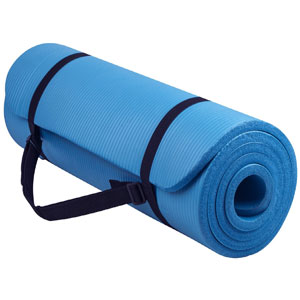 BalanceFrom GoYoga All-Purpose 1/2-Inch Extra Thick High Density Anti-Tear Exercise Yoga Mat with Carrying Strap (BLUE) (Rent to Own)