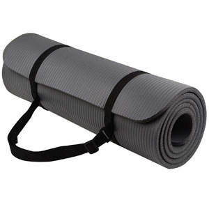 BalanceFrom GoYoga All-Purpose 1/2-Inch Extra Thick High Density Anti-Tear Exercise Yoga Mat with Carrying Strap (GREY)
