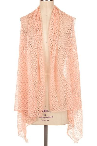 Netted Open Front Cover Up (Peach)